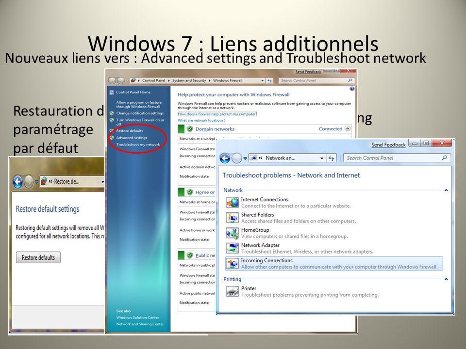 Nouveaux liens vers : Advanced settings and Troubleshoot network Restauration du paramétrage par défaut Troubleshooting Windows 7 : Liens additionnels