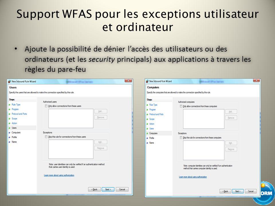 Support WFAS pour les exceptions utilisateur et ordinateur Ajoute la possibilité de dénier laccès des utilisateurs ou des ordinateurs (et les security