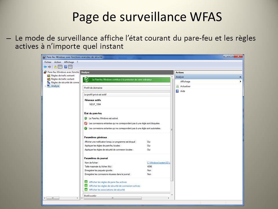 Page de surveillance WFAS – Le mode de surveillance affiche létat courant du pare-feu et les règles actives à nimporte quel instant