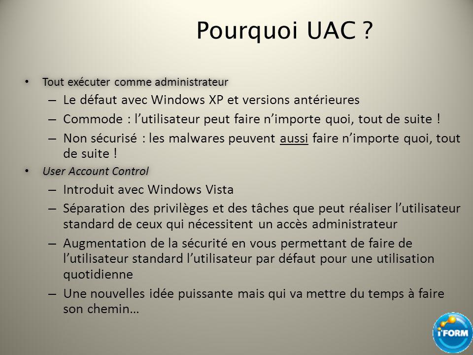 Pourquoi UAC ? Tout exécuter comme administrateur Tout exécuter comme administrateur – Le défaut avec Windows XP et versions antérieures – Commode : l