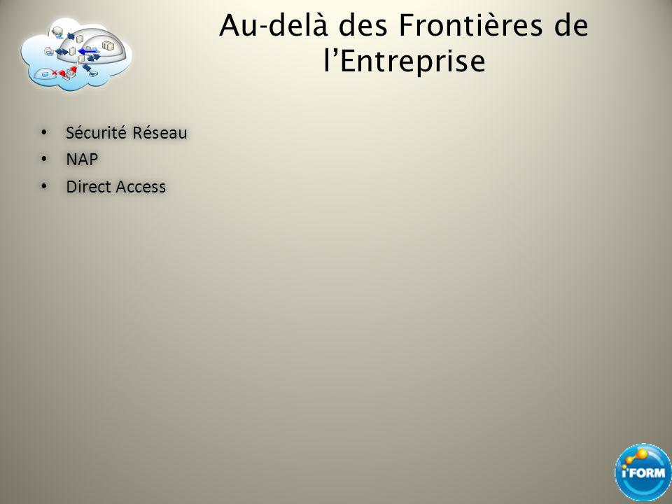 Au-delà des Frontières de lEntreprise Sécurité Réseau Sécurité Réseau NAP NAP Direct Access Direct Access