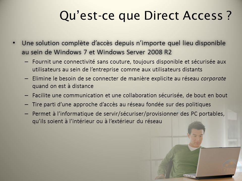 Quest-ce que Direct Access ? Une solution complète daccès depuis nimporte quel lieu disponible au sein de Windows 7 et Windows Server 2008 R2 Une solu
