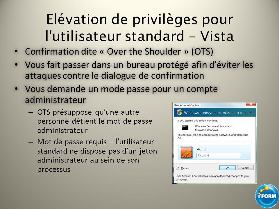 Elévation de privilèges pour l'utilisateur standard – Vista Confirmation dite « Over the Shoulder » (OTS) Confirmation dite « Over the Shoulder » (OTS