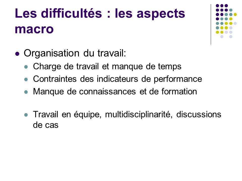 Les difficultés : les aspects macro Organisation du travail: Charge de travail et manque de temps Contraintes des indicateurs de performance Manque de