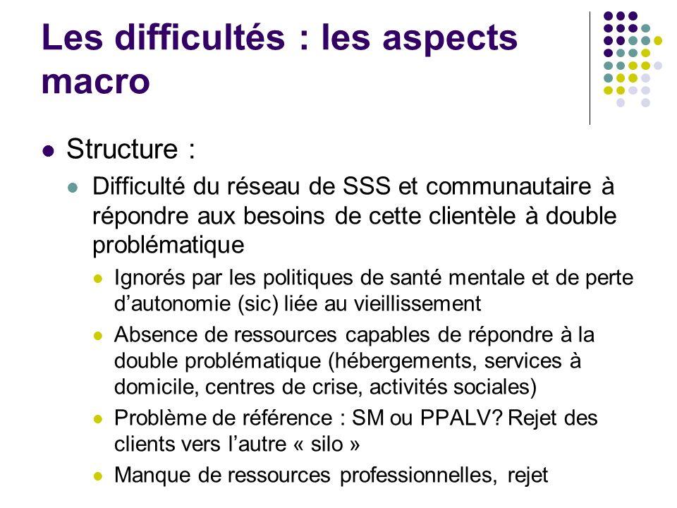 Les difficultés : les aspects macro Structure : Difficulté du réseau de SSS et communautaire à répondre aux besoins de cette clientèle à double problé