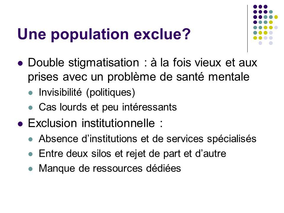 Une population exclue? Double stigmatisation : à la fois vieux et aux prises avec un problème de santé mentale Invisibilité (politiques) Cas lourds et