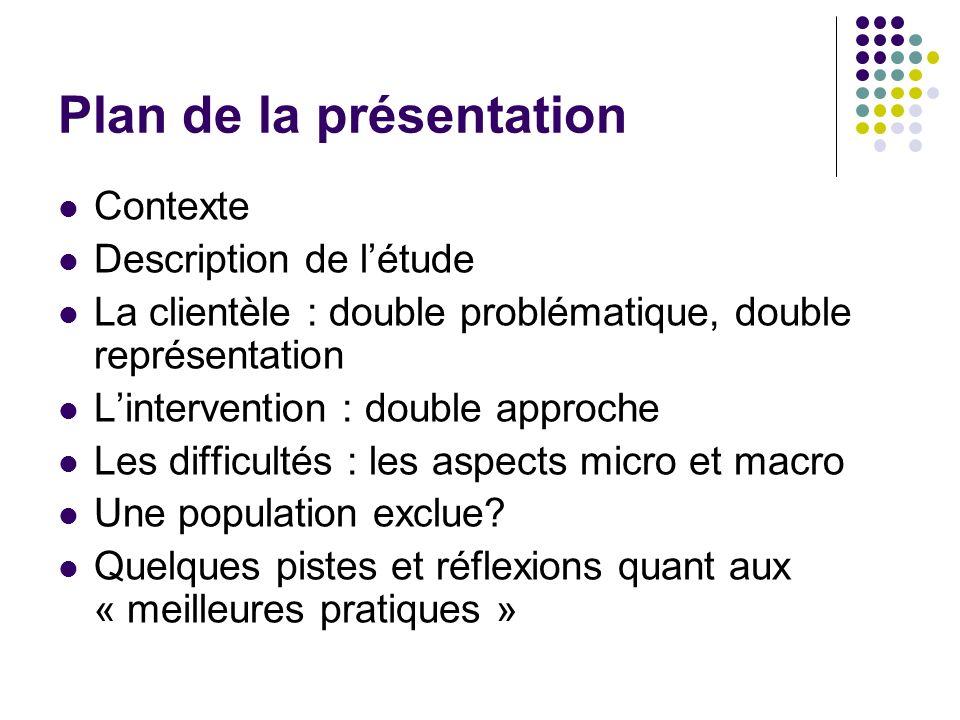 Plan de la présentation Contexte Description de létude La clientèle : double problématique, double représentation Lintervention : double approche Les