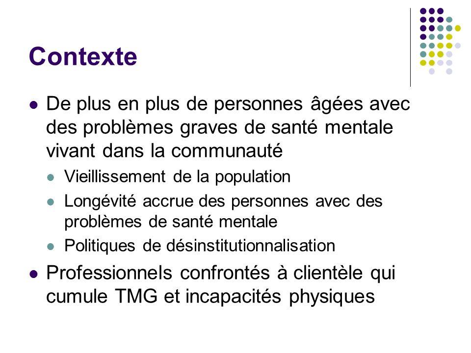 Contexte Réseau SSS construits en silos Problématiques de santé mentale et de perte dautonomie (sic) liée au vieillissement vues comme distinctes