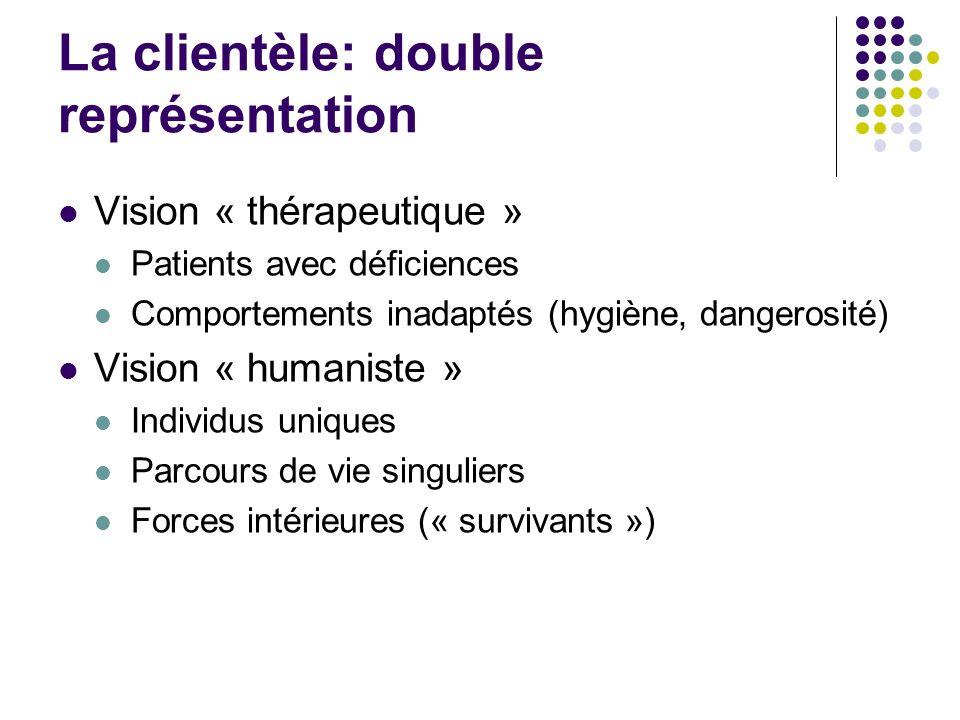La clientèle: double représentation Vision « thérapeutique » Patients avec déficiences Comportements inadaptés (hygiène, dangerosité) Vision « humaniste » Individus uniques Parcours de vie singuliers Forces intérieures (« survivants »)