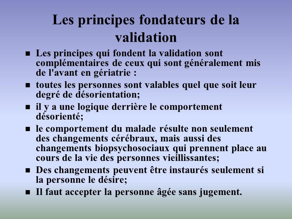 Les principes fondateurs de la validation Les principes qui fondent la validation sont complémentaires de ceux qui sont généralement mis de l'avant en