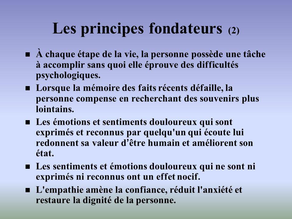 Les principes fondateurs (2) À chaque étape de la vie, la personne possède une tâche à accomplir sans quoi elle éprouve des difficultés psychologiques