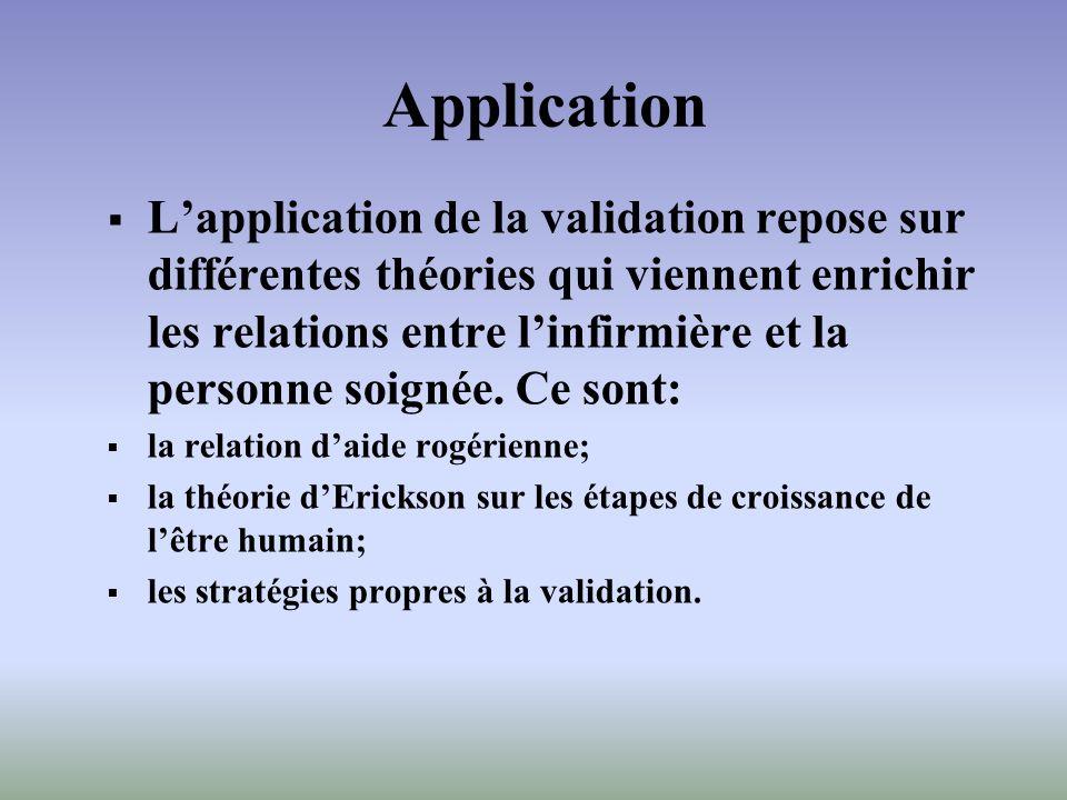 Application Lapplication de la validation repose sur différentes théories qui viennent enrichir les relations entre linfirmière et la personne soignée