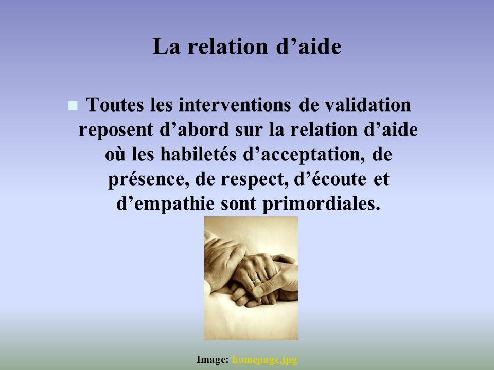 La relation daide Toutes les interventions de validation reposent dabord sur la relation daide où les habiletés dacceptation, de présence, de respect,