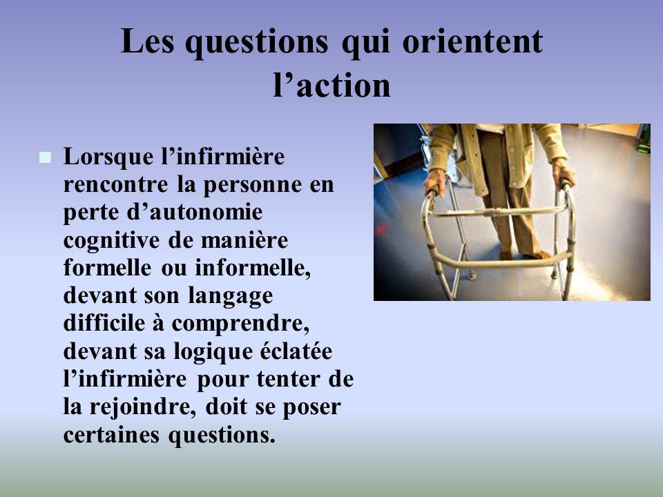 Les questions qui orientent laction Lorsque linfirmière rencontre la personne en perte dautonomie cognitive de manière formelle ou informelle, devant