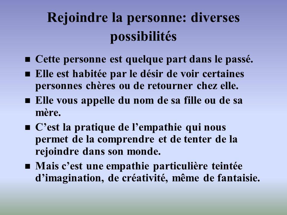 Rejoindre la personne: diverses possibilités Cette personne est quelque part dans le passé. Elle est habitée par le désir de voir certaines personnes