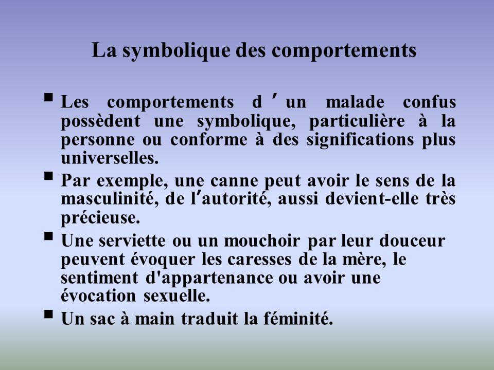 Les comportements dun malade confus possèdent une symbolique, particulière à la personne ou conforme à des significations plus universelles. Par exemp