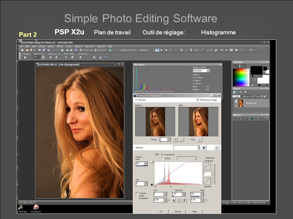 Simple Photo Editing Software PSP X2u Plan de travail Outil de réglage: Histogramme Part 2
