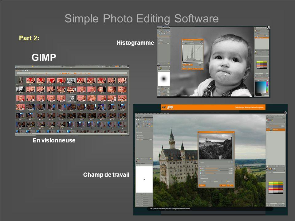 Simple Photo Editing Software Part 2: GIMP En visionneuse Champ de travail Histogramme