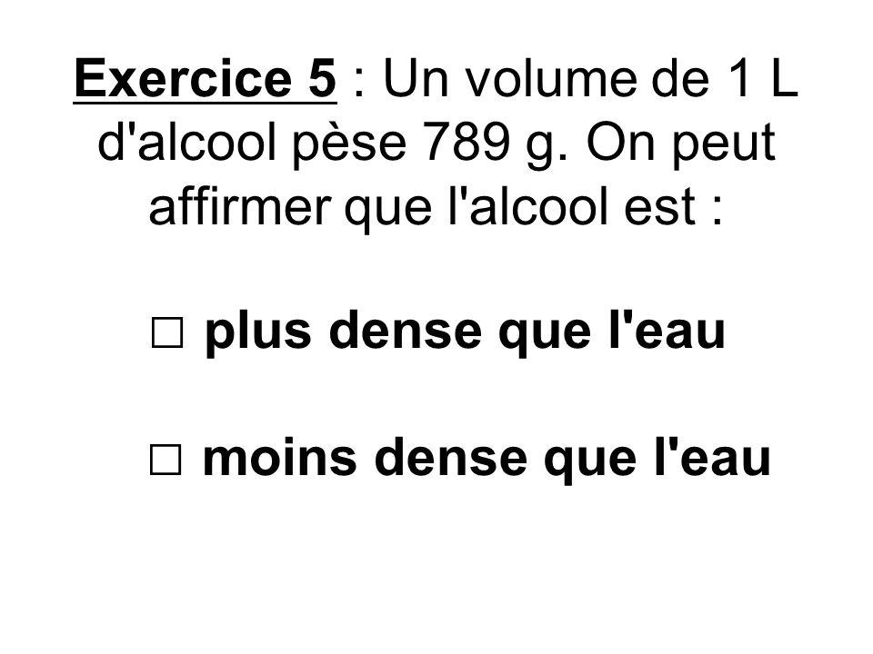 Exercice 5 : Un volume de 1 L d'alcool pèse 789 g. On peut affirmer que l'alcool est : plus dense que l'eau moins dense que l'eau