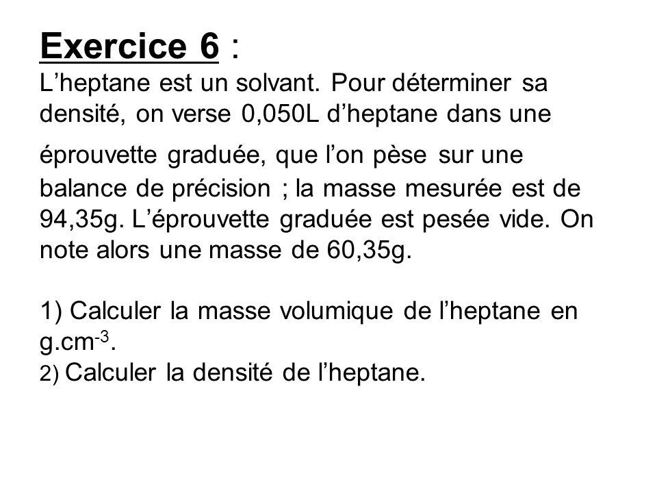 Exercice 6 : Lheptane est un solvant. Pour déterminer sa densité, on verse 0,050L dheptane dans une éprouvette graduée, que lon pèse sur une balance d