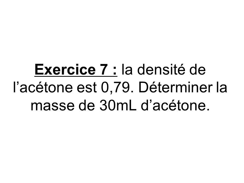 Exercice 7 : la densité de lacétone est 0,79. Déterminer la masse de 30mL dacétone.