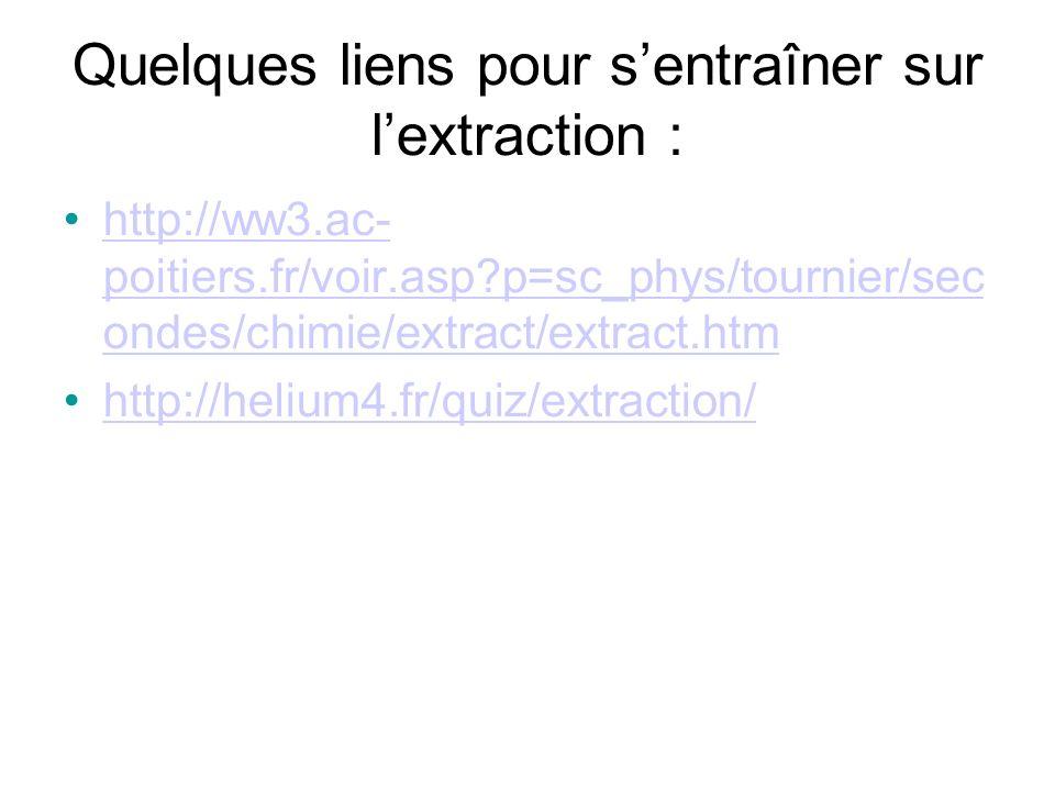 Quelques liens pour sentraîner sur lextraction : http://ww3.ac- poitiers.fr/voir.asp?p=sc_phys/tournier/sec ondes/chimie/extract/extract.htmhttp://ww3.ac- poitiers.fr/voir.asp?p=sc_phys/tournier/sec ondes/chimie/extract/extract.htm http://helium4.fr/quiz/extraction/