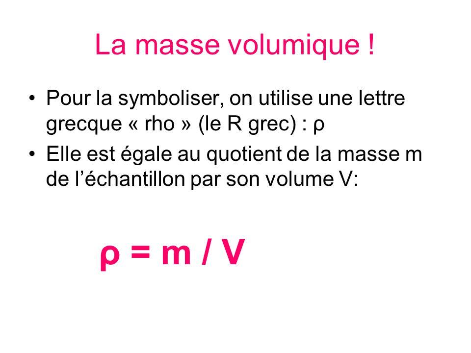 La masse volumique ! Pour la symboliser, on utilise une lettre grecque « rho » (le R grec) : ρ Elle est égale au quotient de la masse m de léchantillo