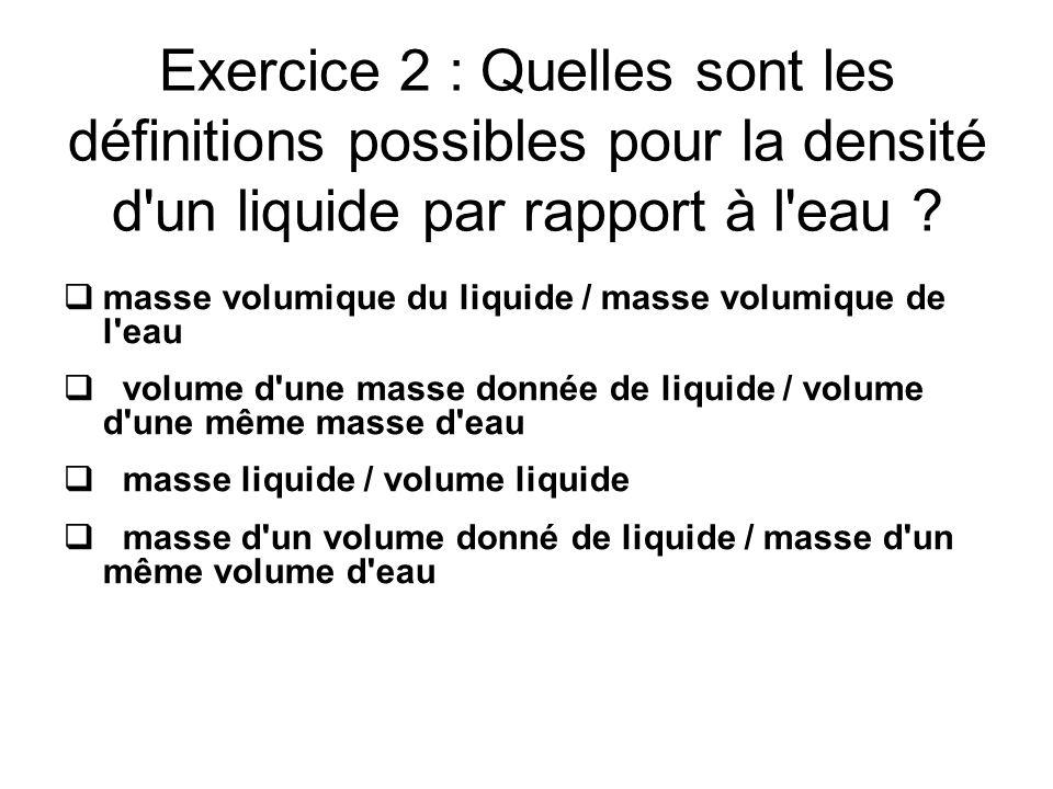 Exercice 2 : Quelles sont les définitions possibles pour la densité d'un liquide par rapport à l'eau ? masse volumique du liquide / masse volumique de