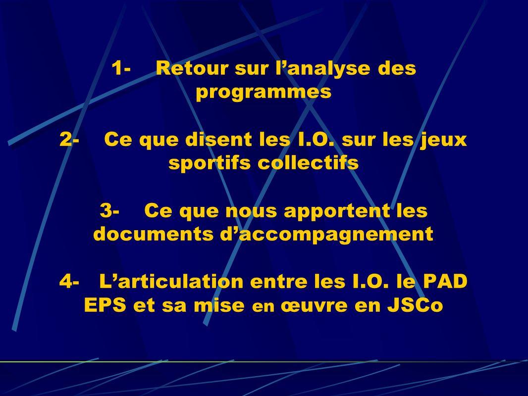 1- Retour sur lanalyse des programmes 2- Ce que disent les I.O.