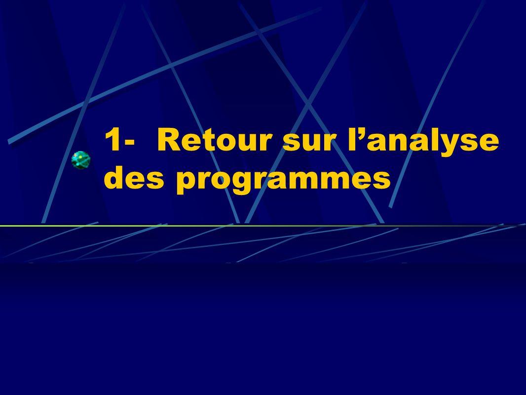 1- Retour sur lanalyse des programmes
