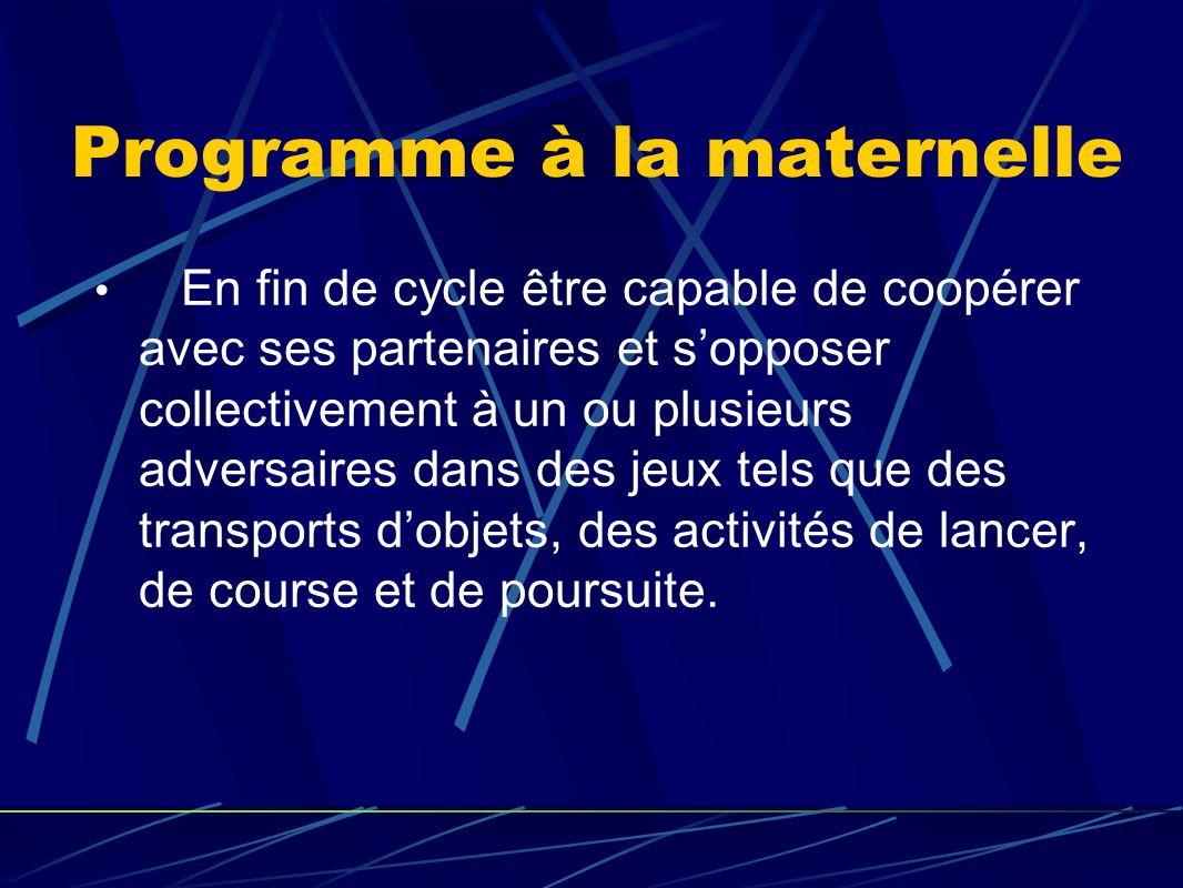 Programme à la maternelle En fin de cycle être capable de coopérer avec ses partenaires et sopposer collectivement à un ou plusieurs adversaires dans