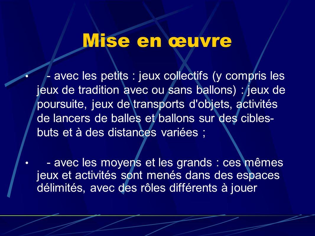 Mise en œuvre - avec les petits : jeux collectifs (y compris les jeux de tradition avec ou sans ballons) : jeux de poursuite, jeux de transports d'obj