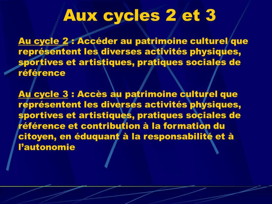 Aux cycles 2 et 3 Au cycle 2 : Accéder au patrimoine culturel que représentent les diverses activités physiques, sportives et artistiques, pratiques s