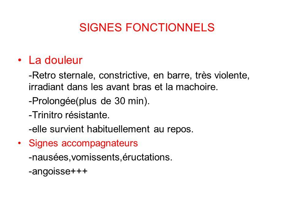 SIGNES FONCTIONNELS La douleur -Retro sternale, constrictive, en barre, très violente, irradiant dans les avant bras et la machoire.