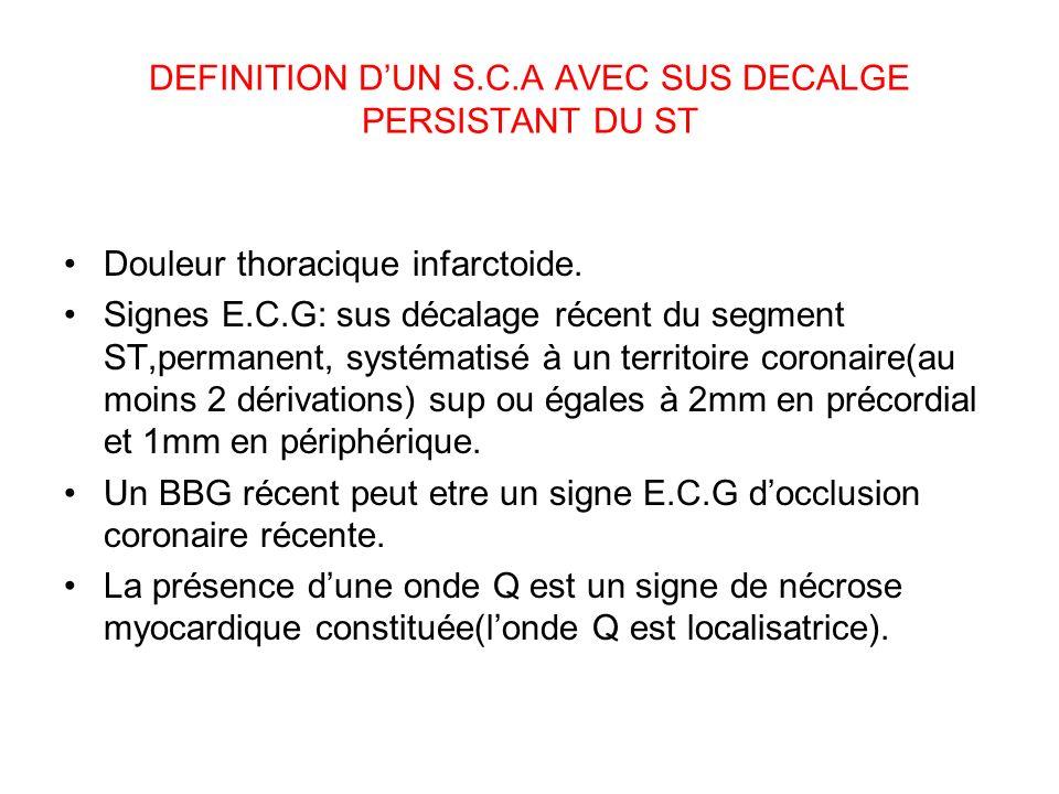DEFINITION DUN S.C.A AVEC SUS DECALGE PERSISTANT DU ST Douleur thoracique infarctoide.