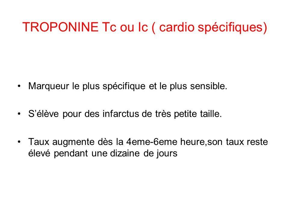 TROPONINE Tc ou Ic ( cardio spécifiques) Marqueur le plus spécifique et le plus sensible.