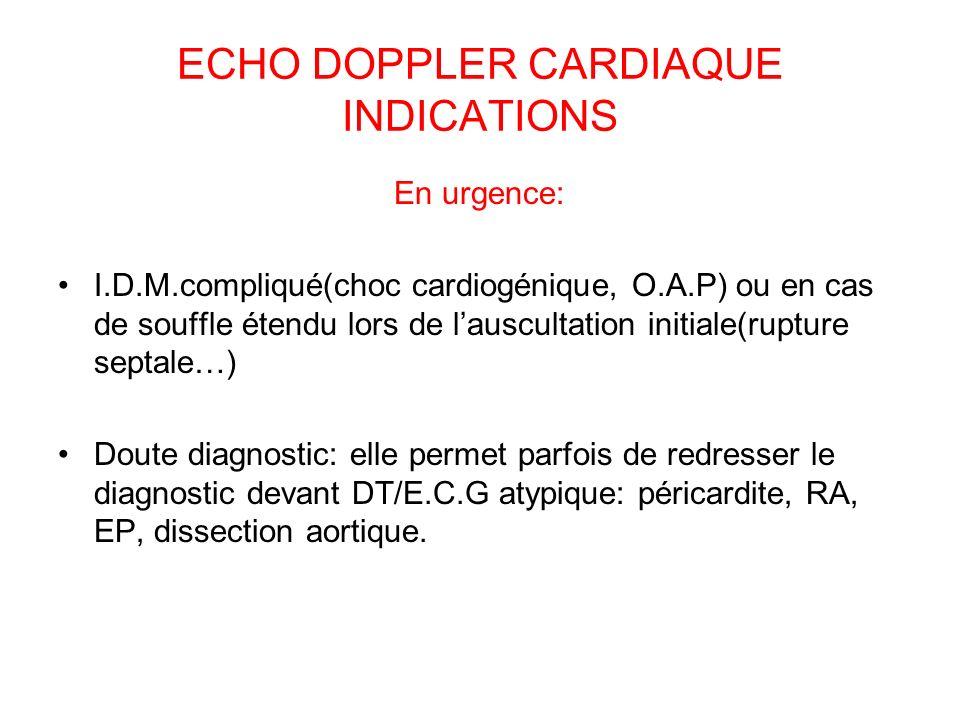 ECHO DOPPLER CARDIAQUE INDICATIONS En urgence: I.D.M.compliqué(choc cardiogénique, O.A.P) ou en cas de souffle étendu lors de lauscultation initiale(rupture septale…) Doute diagnostic: elle permet parfois de redresser le diagnostic devant DT/E.C.G atypique: péricardite, RA, EP, dissection aortique.