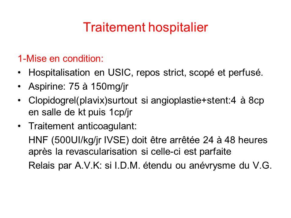 Traitement hospitalier 1-Mise en condition: Hospitalisation en USIC, repos strict, scopé et perfusé.