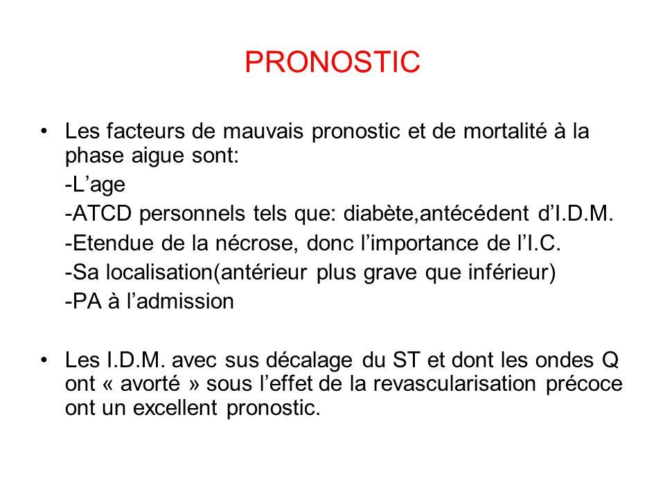 PRONOSTIC Les facteurs de mauvais pronostic et de mortalité à la phase aigue sont: -Lage -ATCD personnels tels que: diabète,antécédent dI.D.M.