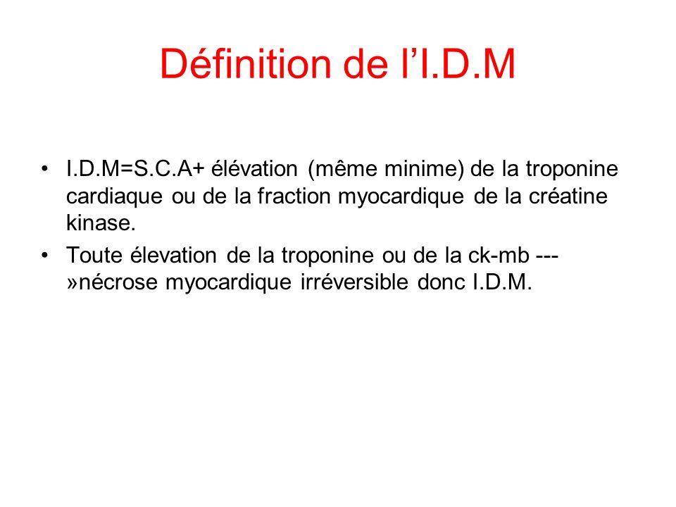 Définition de lI.D.M I.D.M=S.C.A+ élévation (même minime) de la troponine cardiaque ou de la fraction myocardique de la créatine kinase.