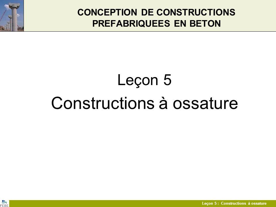 Leçon 5 : Constructions à ossature Eléments Colonnes Dimensions de colonnes standards recommandées b/h300400500600800 300 x x x 400 x x x 500 x x x 600 x x x ronde kol.