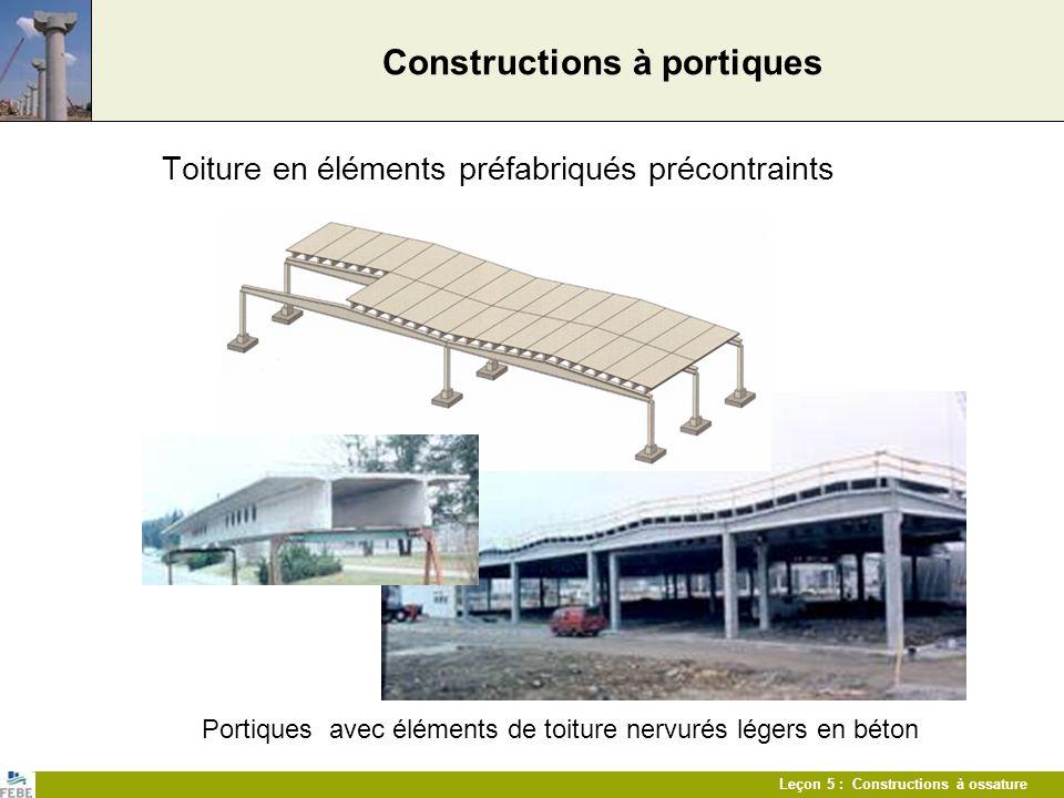 Leçon 5 : Constructions à ossature Constructions à ossature Centre commercial de 125.000 m² Liaison de lélément de couronnement avec la structure