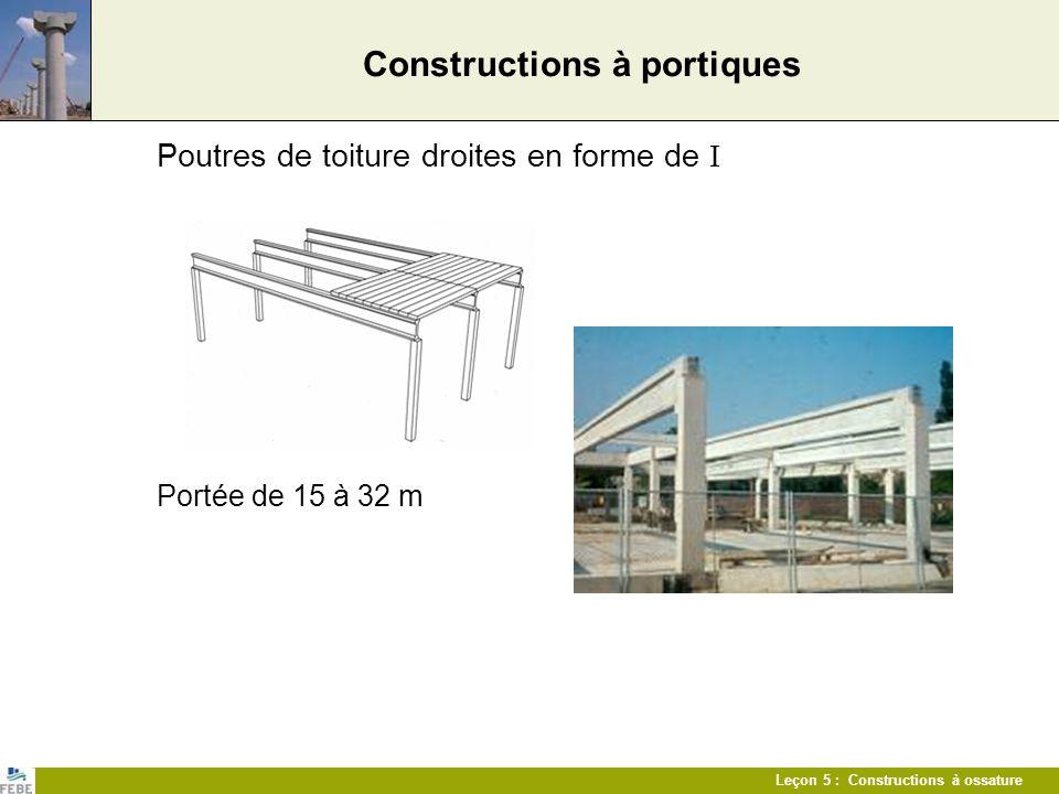Leçon 5 : Constructions à ossature Constructions à portiques Poutres de toiture droites en forme de I Portée de 15 à 32 m