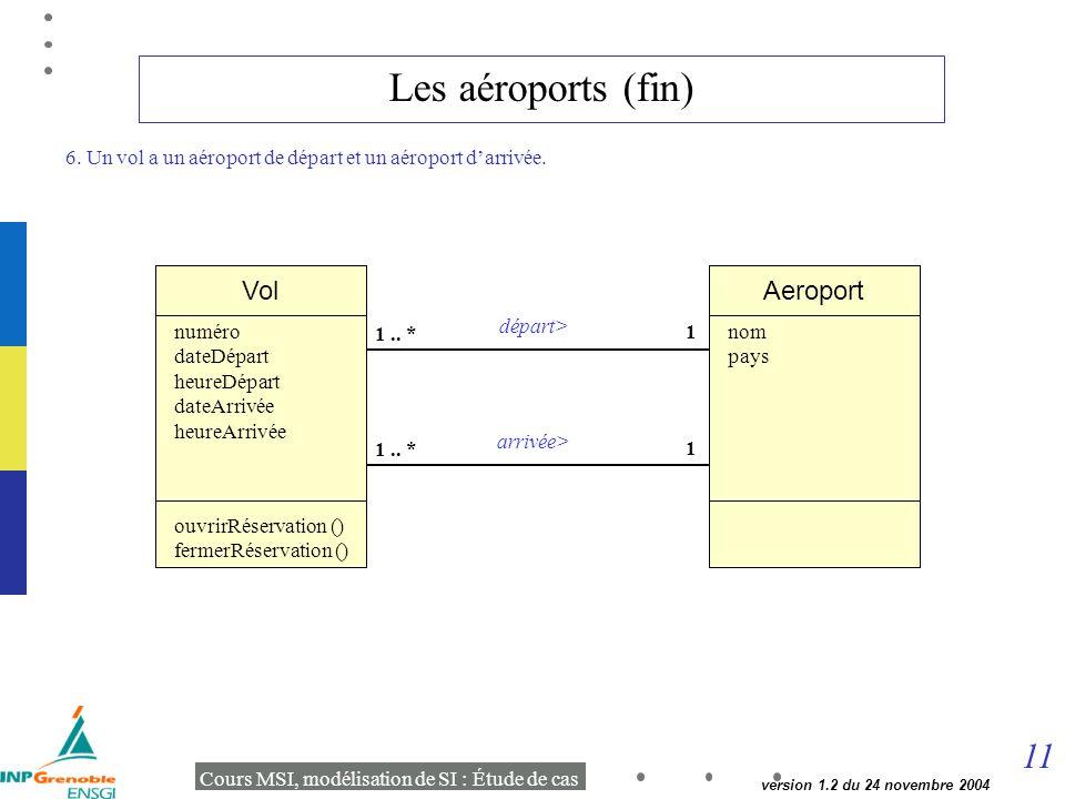 11 Cours MSI, modélisation de SI : Étude de cas version 1.2 du 24 novembre 2004 Les aéroports (fin) Vol 1 1..