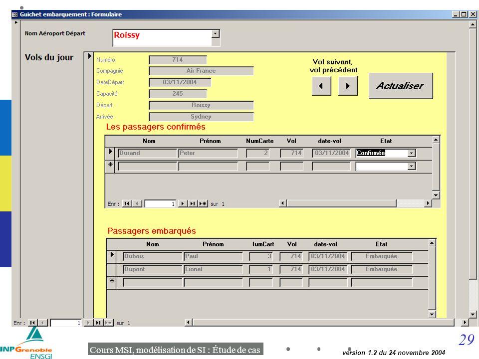 29 Cours MSI, modélisation de SI : Étude de cas version 1.2 du 24 novembre 2004 Délivrer carte embarquement Guichet aéroport
