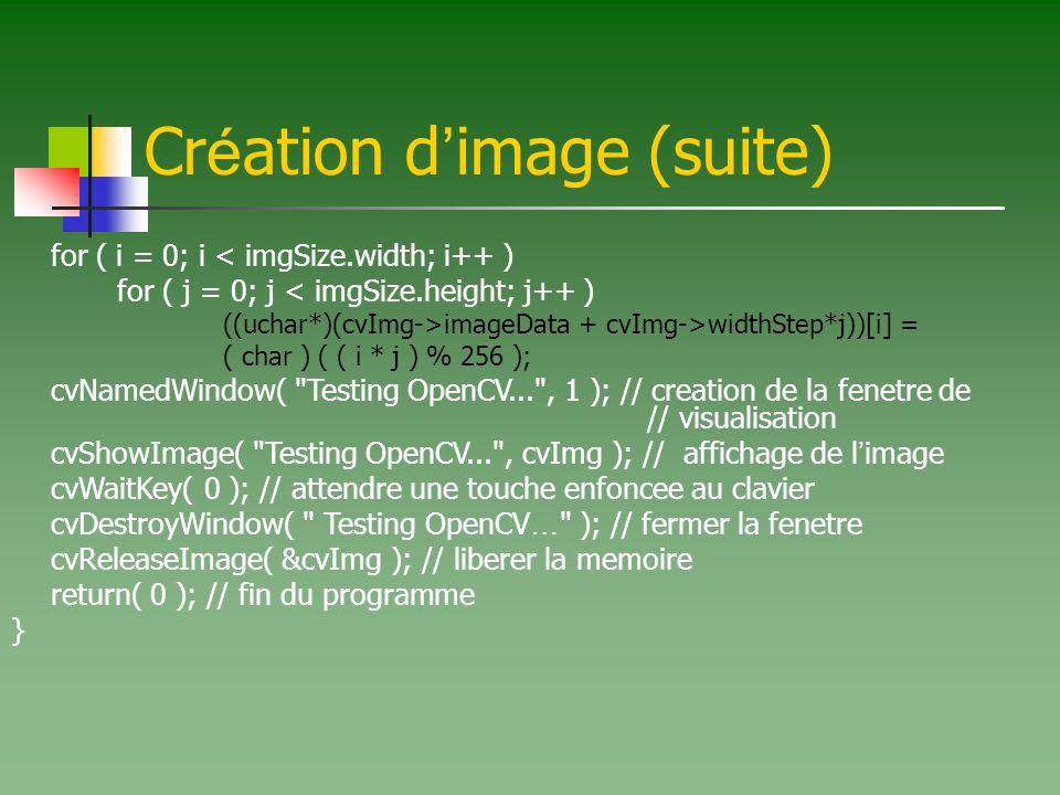 Cr é ation d image (suite) for ( i = 0; i < imgSize.width; i++ ) for ( j = 0; j < imgSize.height; j++ ) ((uchar*)(cvImg->imageData + cvImg->widthStep*j))[i] = ( char ) ( ( i * j ) % 256 ); cvNamedWindow( Testing OpenCV... , 1 ); // creation de la fenetre de // visualisation cvShowImage( Testing OpenCV... , cvImg ); // affichage de l image cvWaitKey( 0 ); // attendre une touche enfoncee au clavier cvDestroyWindow( Testing OpenCV … ); // fermer la fenetre cvReleaseImage( &cvImg ); // liberer la memoire return( 0 ); // fin du programme }