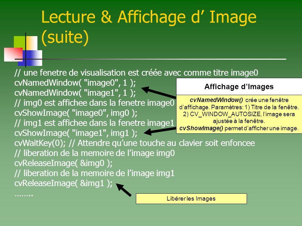 Lecture & Affichage d Image (suite) // une fenetre de visualisation est créée avec comme titre image0 cvNamedWindow( image0 , 1 ); cvNamedWindow( image1 , 1 ); // img0 est affichee dans la fenetre image0 cvShowImage( image0 , img0 ); // img1 est affichee dans la fenetre image1 cvShowImage( image1 , img1 ); cvWaitKey(0); // Attendre quune touche au clavier soit enfoncee // liberation de la memoire de limage img0 cvReleaseImage( &img0 ); // liberation de la memoire de limage img1 cvReleaseImage( &img1 ); ……..