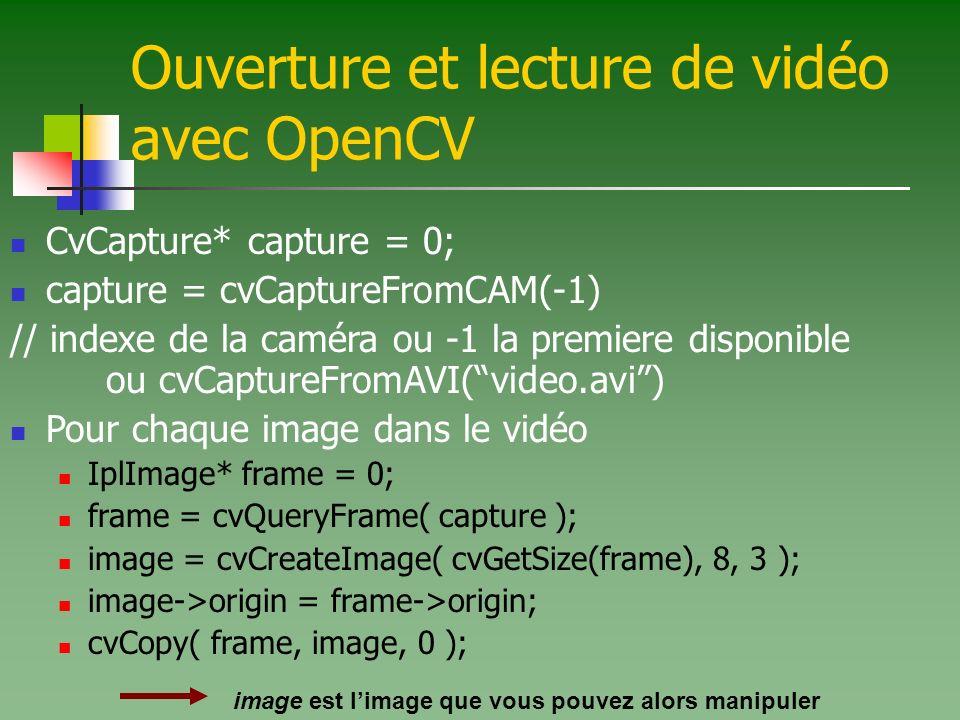 Ouverture et lecture de vidéo avec OpenCV CvCapture* capture = 0; capture = cvCaptureFromCAM(-1) // indexe de la caméra ou -1 la premiere disponible ou cvCaptureFromAVI(video.avi) Pour chaque image dans le vidéo IplImage* frame = 0; frame = cvQueryFrame( capture ); image = cvCreateImage( cvGetSize(frame), 8, 3 ); image->origin = frame->origin; cvCopy( frame, image, 0 ); image est limage que vous pouvez alors manipuler
