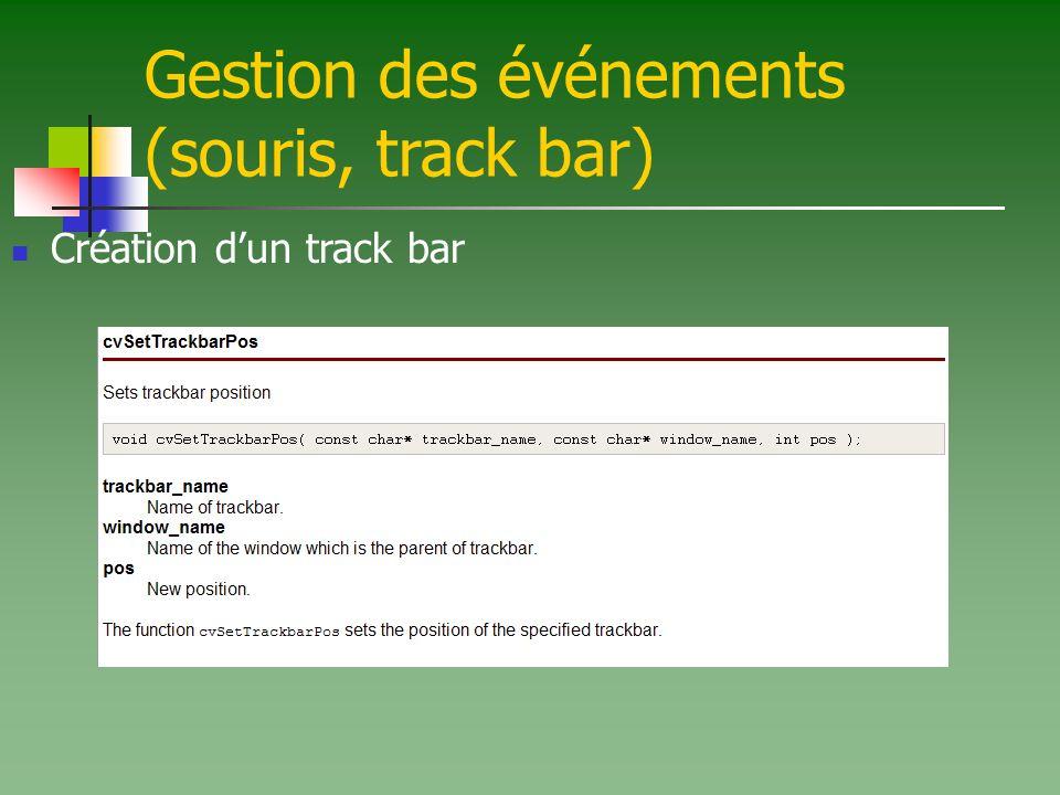 Gestion des événements (souris, track bar) Création dun track bar