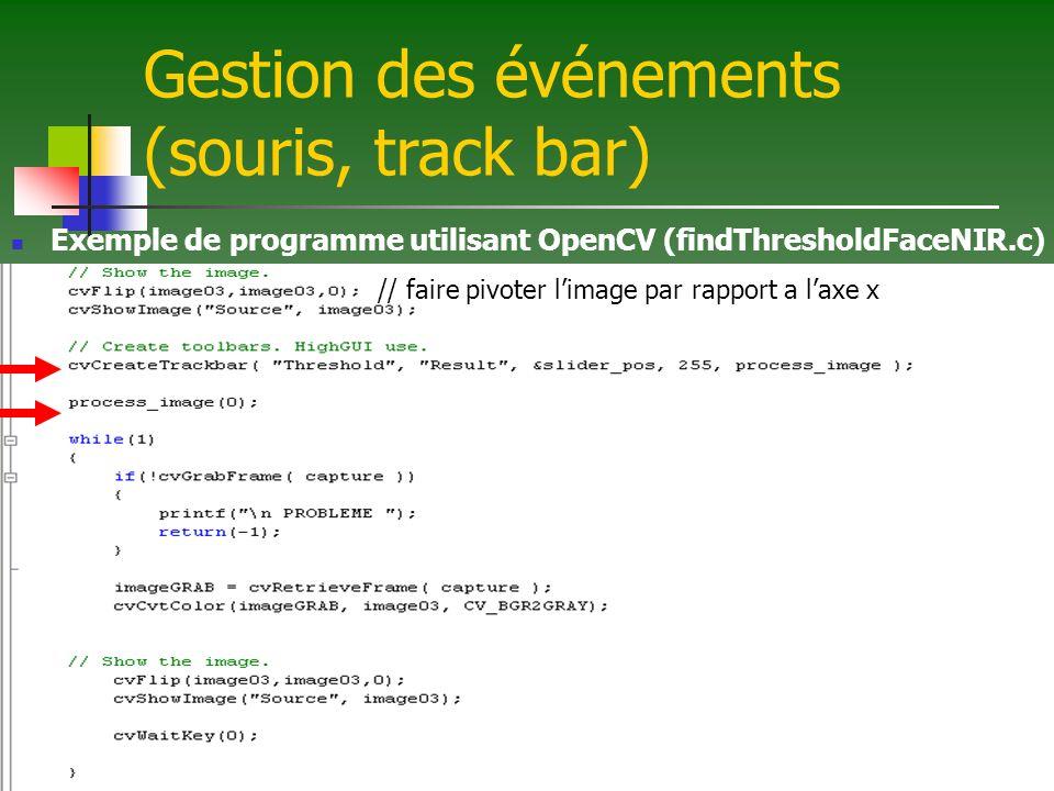 Gestion des événements (souris, track bar) Exemple de programme utilisant OpenCV (findThresholdFaceNIR.c) // faire pivoter limage par rapport a laxe x
